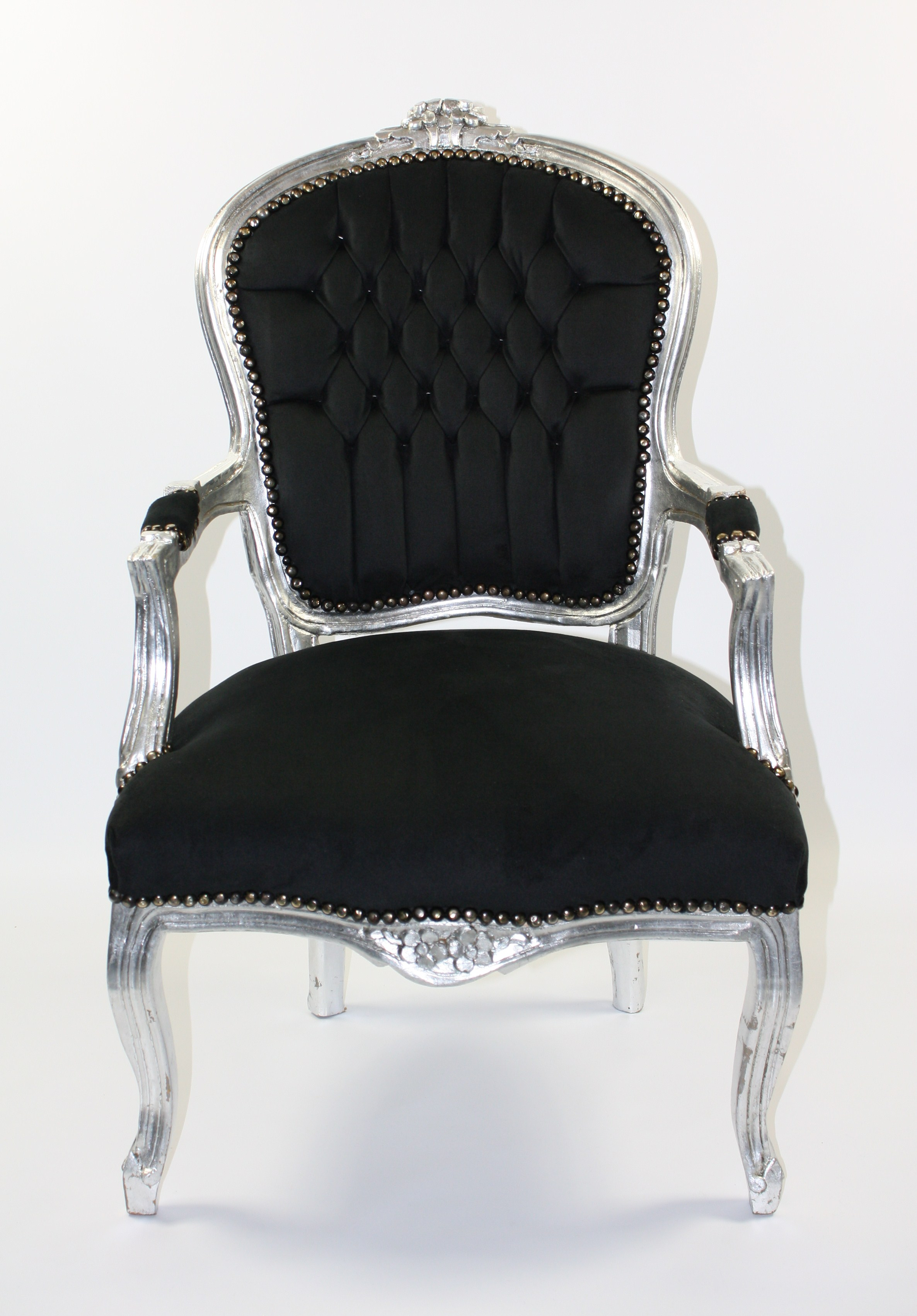 Silver chair furniture - Silver And Black Velvet Salon Chair Categories Chairs